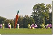 die Sitz- (gelb) und Flitz- (rosa) Hasen