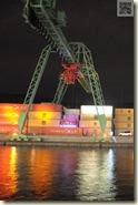 beleuchteter Hafen-Kran