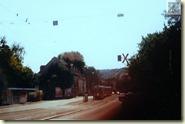 die Straßenbahn vor dem Abbiegen in die Schleife
