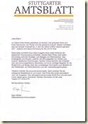Brief von der Amtsblatt-Redaktion