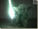Yoda mit LED-Leuchtschwert